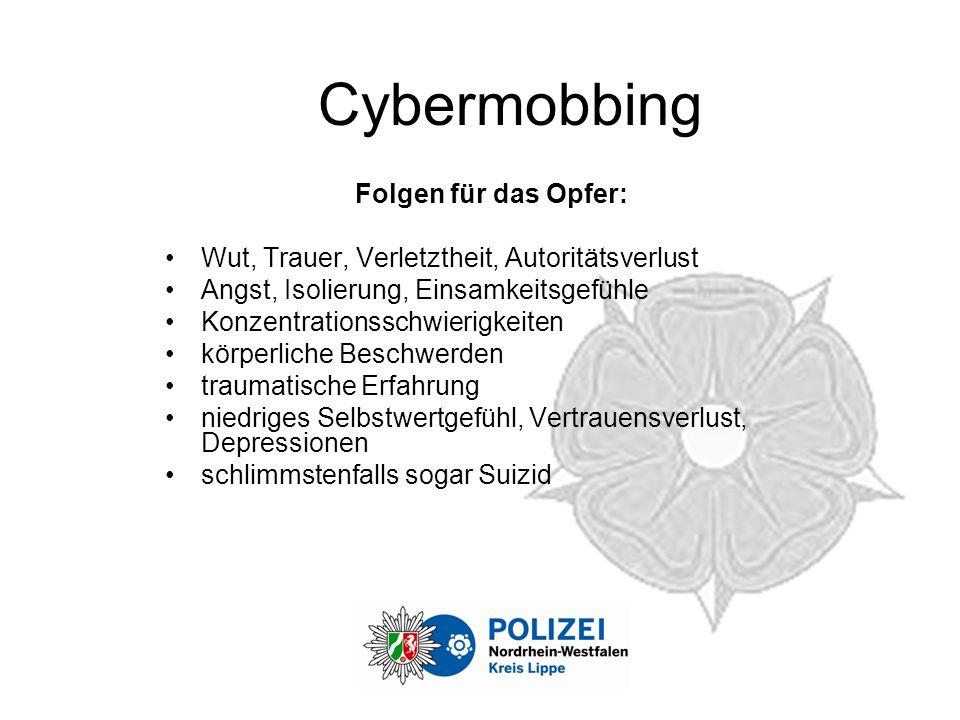 Cybermobbing Folgen für das Opfer: