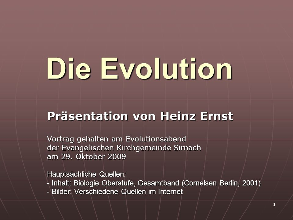 Die Evolution Präsentation von Heinz Ernst