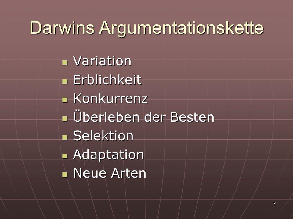 Darwins Argumentationskette