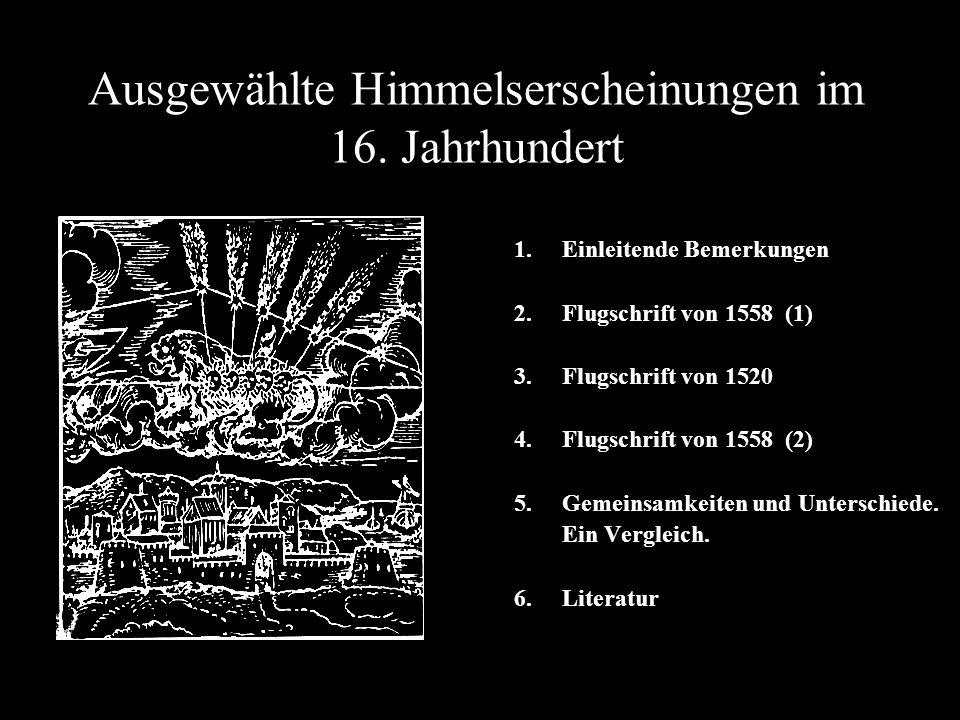 Ausgewählte Himmelserscheinungen im 16. Jahrhundert