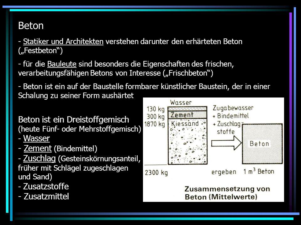 """Beton Statiker und Architekten verstehen darunter den erhärteten Beton (""""Festbeton )"""