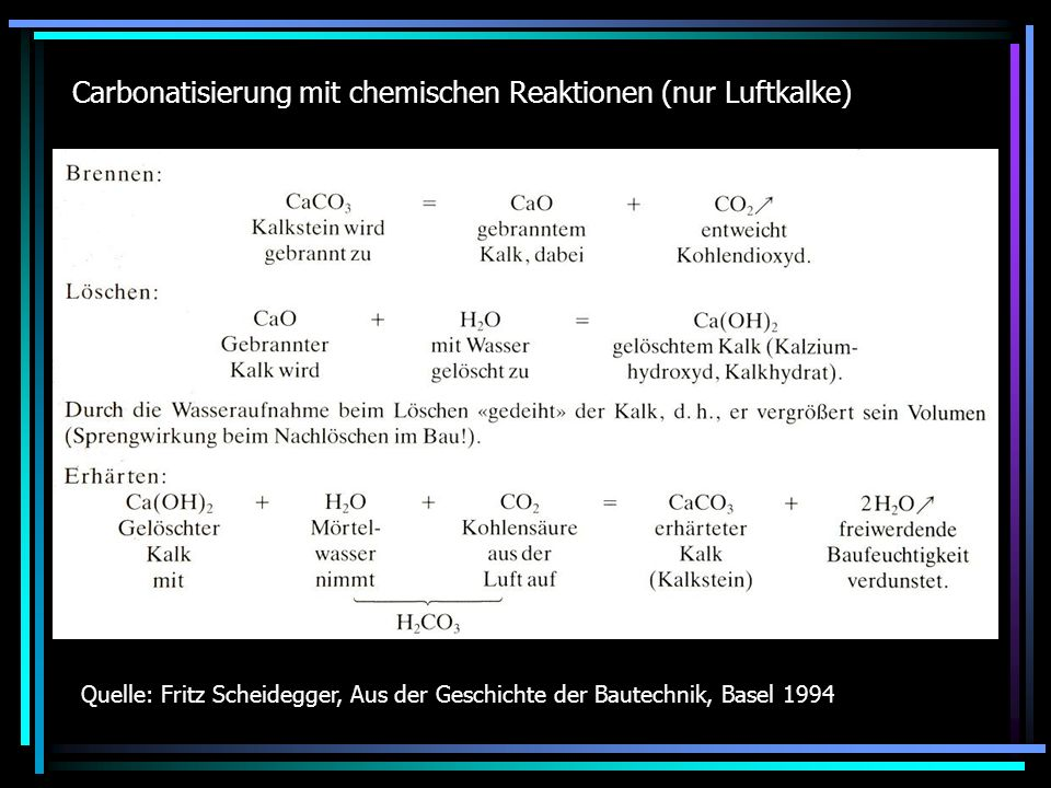Carbonatisierung mit chemischen Reaktionen (nur Luftkalke)