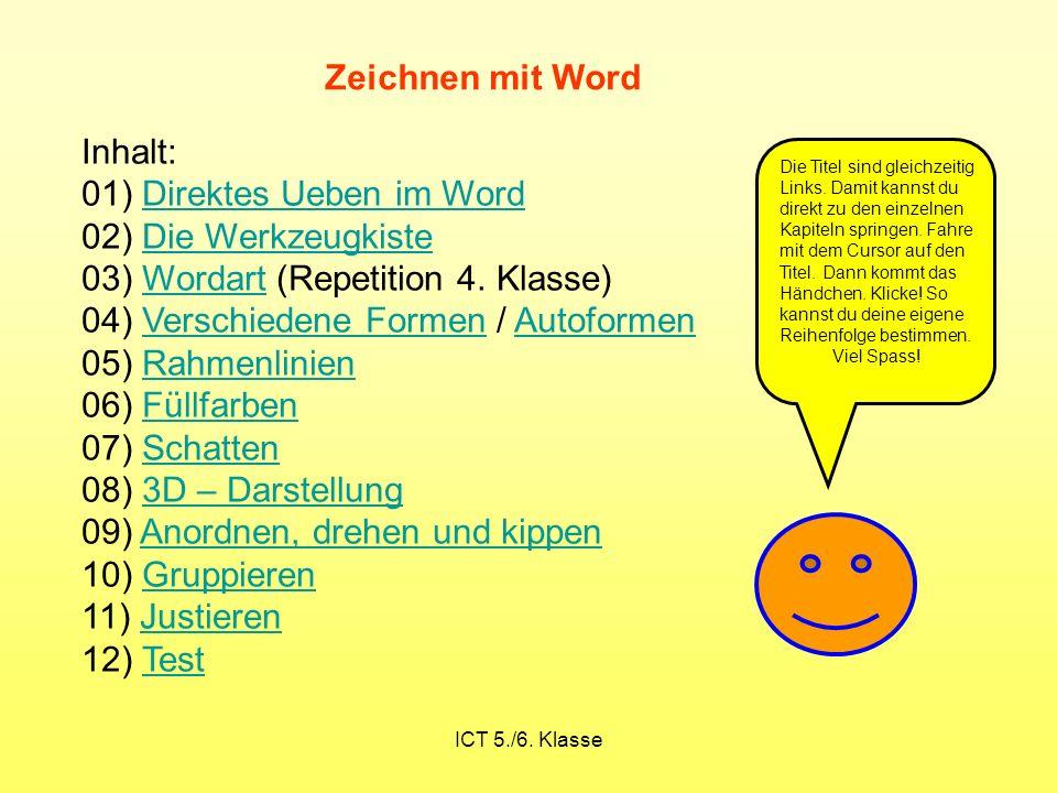 01) Direktes Ueben im Word 02) Die Werkzeugkiste