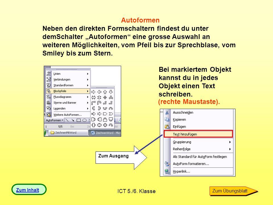 Bei markiertem Objekt kannst du in jedes Objekt einen Text schreiben.
