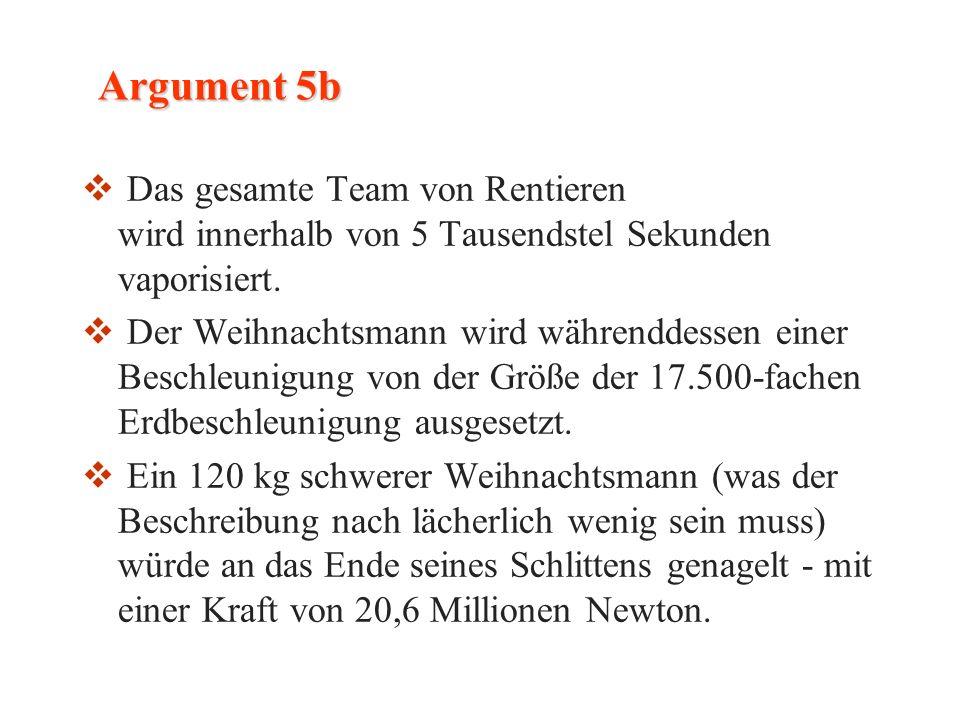 Argument 5b Das gesamte Team von Rentieren wird innerhalb von 5 Tausendstel Sekunden vaporisiert.
