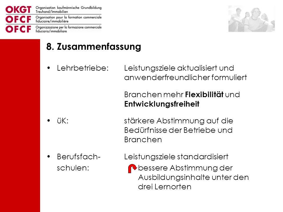 8. Zusammenfassung Lehrbetriebe: Leistungsziele aktualisiert und anwenderfreundlicher formuliert.