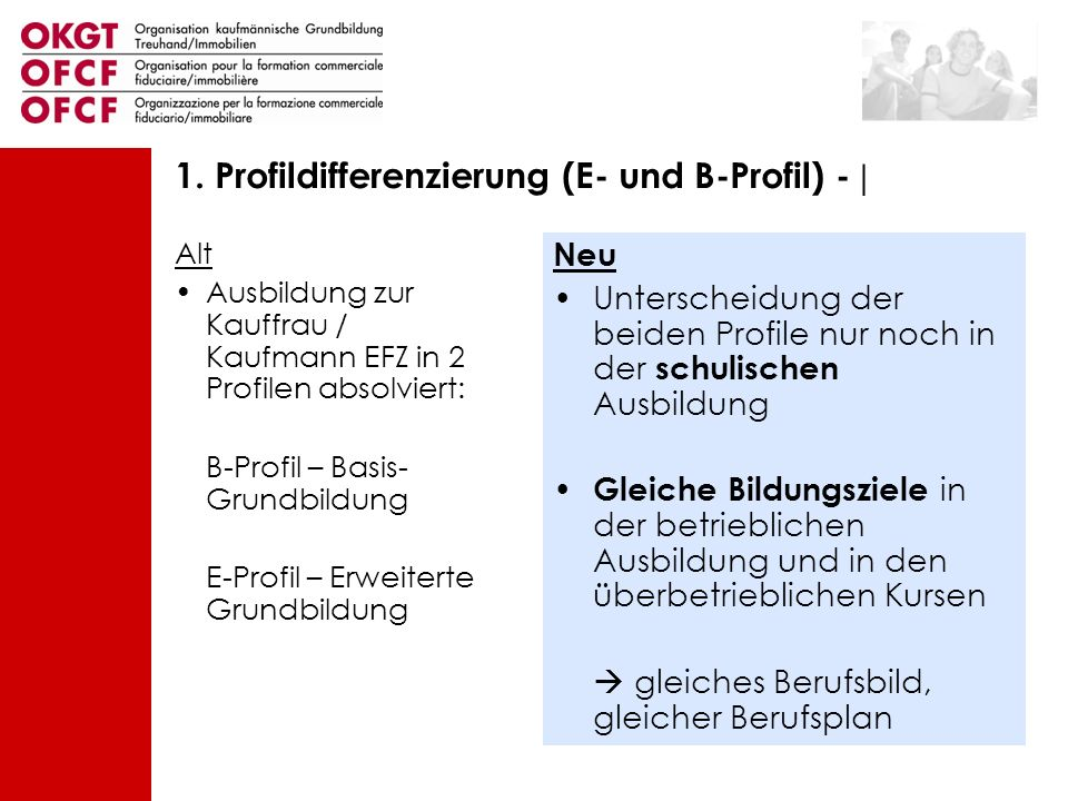 1. Profildifferenzierung (E- und B-Profil) - |