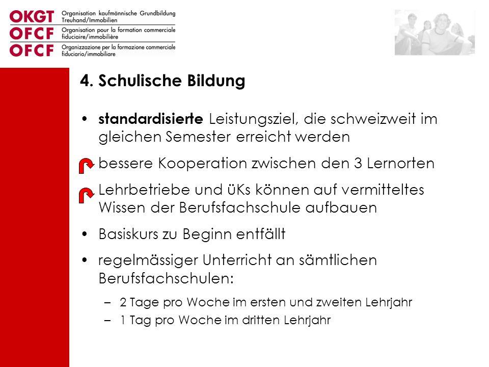 4. Schulische Bildung standardisierte Leistungsziel, die schweizweit im gleichen Semester erreicht werden.