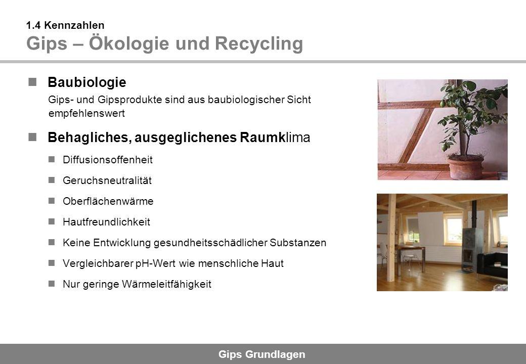 1.4 Kennzahlen Gips – Ökologie und Recycling