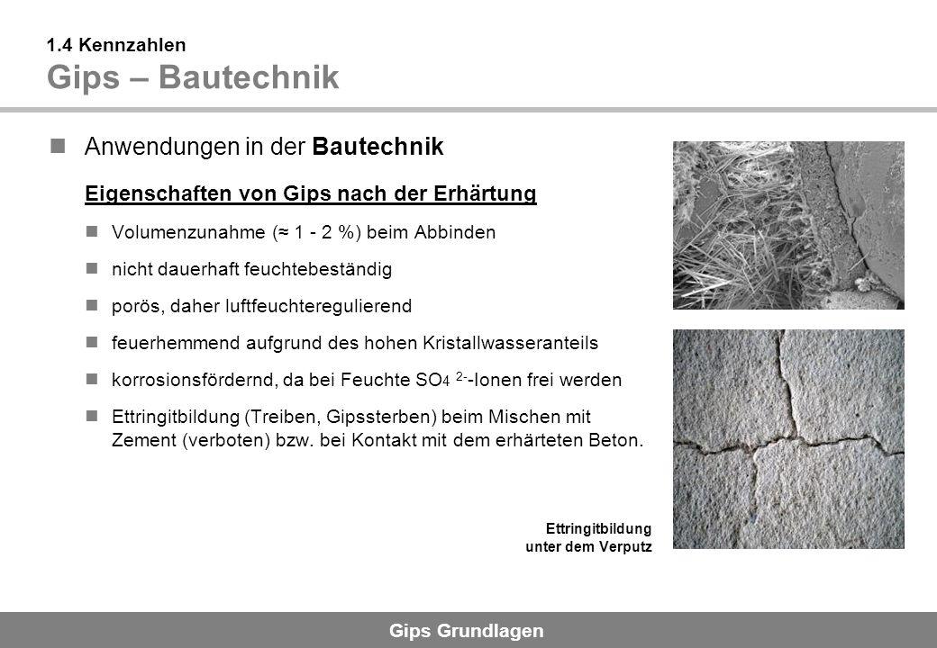 1.4 Kennzahlen Gips – Bautechnik