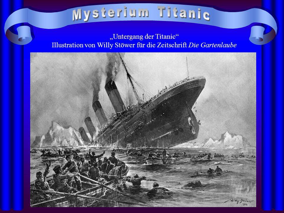 """Mysterium Titanic """"Untergang der Titanic Illustration von Willy Stöwer für die Zeitschrift Die Gartenlaube."""