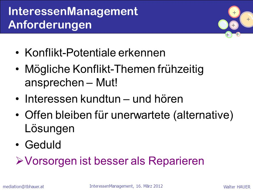 InteressenManagement Anforderungen