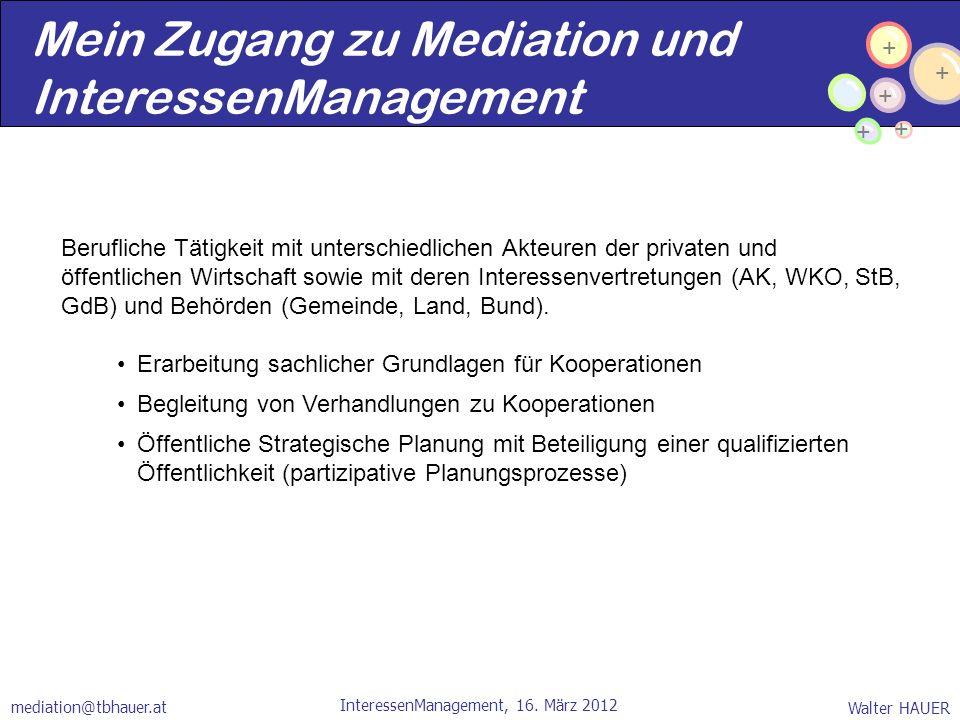 Mein Zugang zu Mediation und InteressenManagement