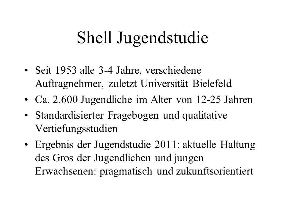 Shell Jugendstudie Seit 1953 alle 3-4 Jahre, verschiedene Auftragnehmer, zuletzt Universität Bielefeld.