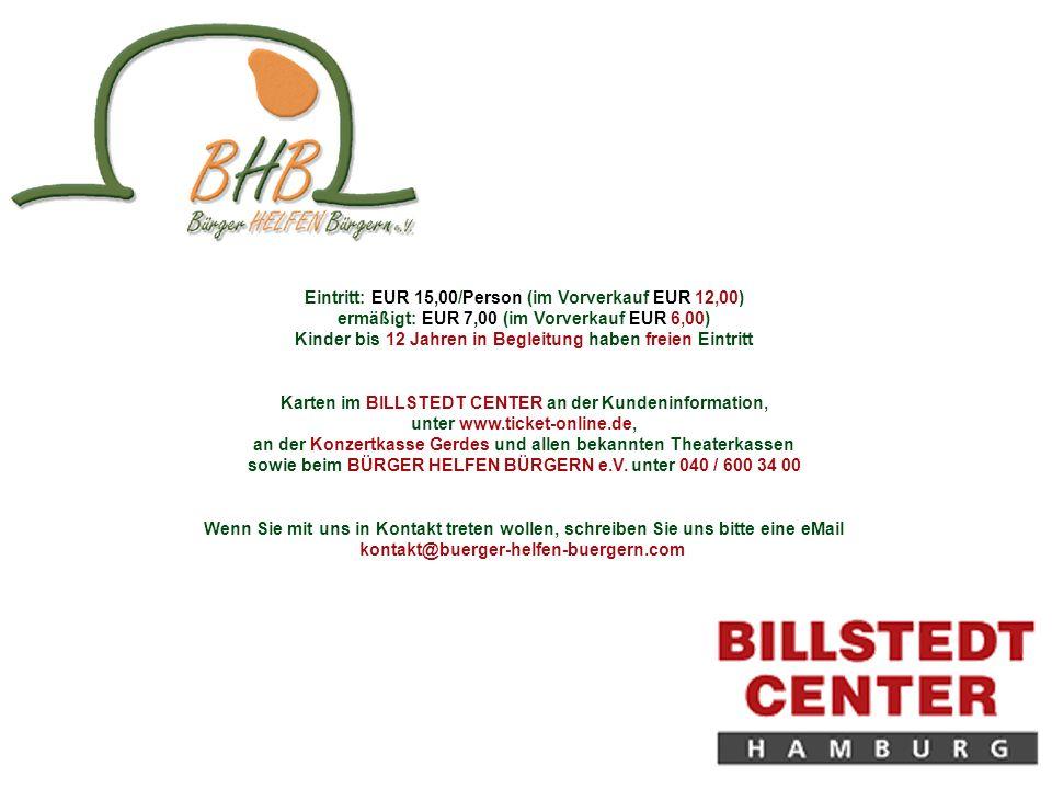 Eintritt: EUR 15,00/Person (im Vorverkauf EUR 12,00) ermäßigt: EUR 7,00 (im Vorverkauf EUR 6,00) Kinder bis 12 Jahren in Begleitung haben freien Eintritt