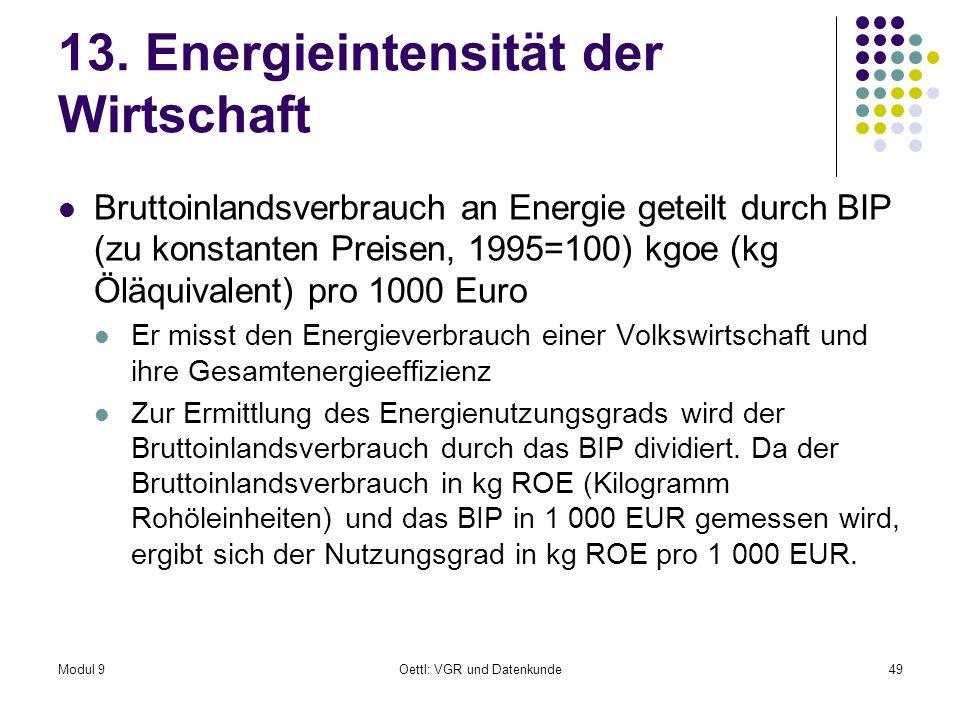 13. Energieintensität der Wirtschaft