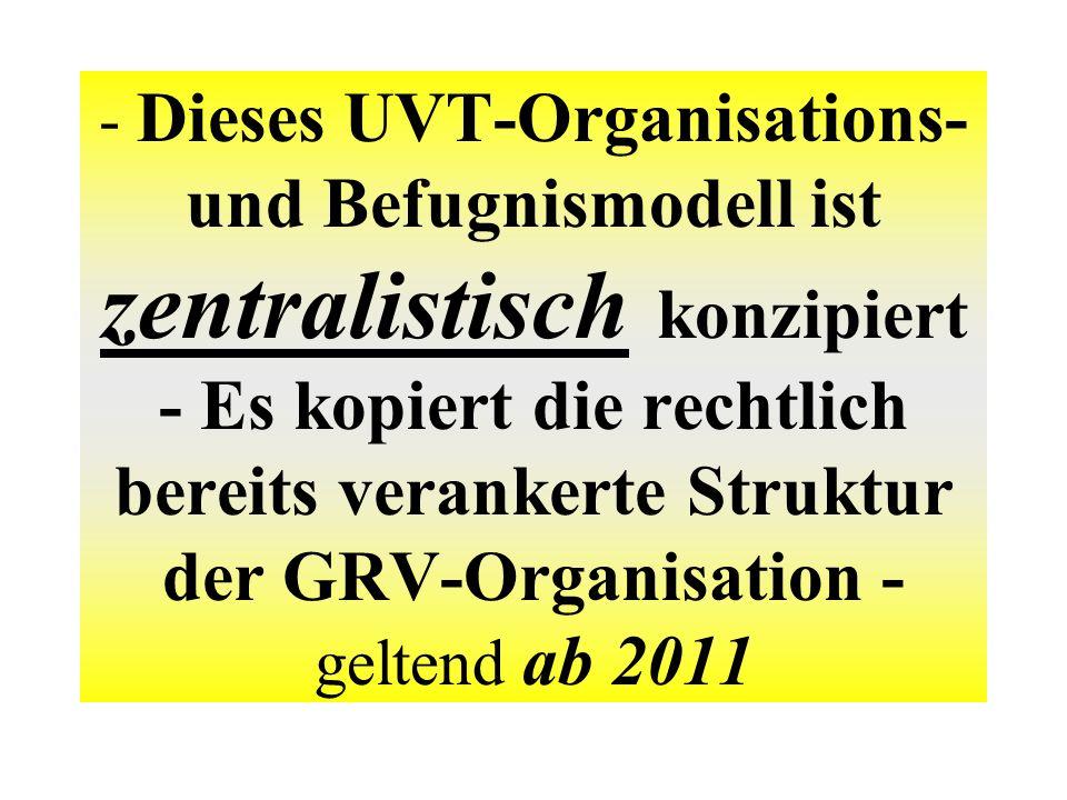 - Dieses UVT-Organisations- und Befugnismodell ist zentralistisch konzipiert - Es kopiert die rechtlich bereits verankerte Struktur der GRV-Organisation - geltend ab 2011