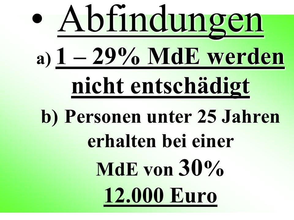 Abfindungen a) 1 – 29% MdE werden nicht entschädigt b) Personen unter 25 Jahren erhalten bei einer MdE von 30% 12.000 Euro