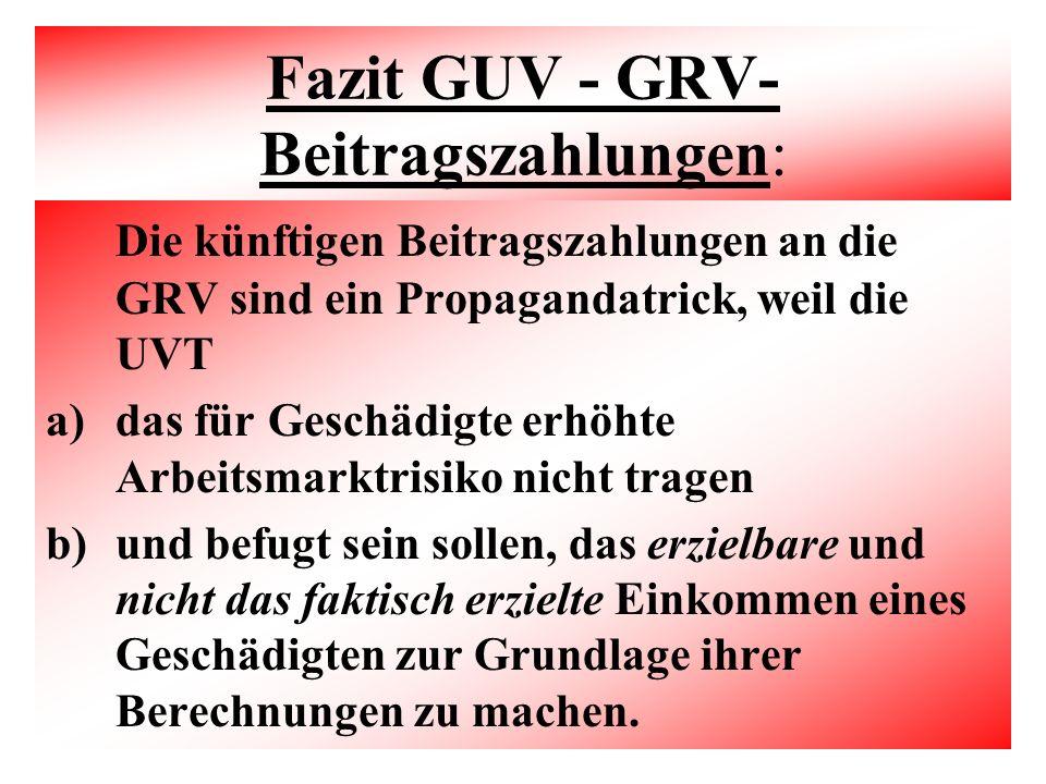 Fazit GUV - GRV-Beitragszahlungen:
