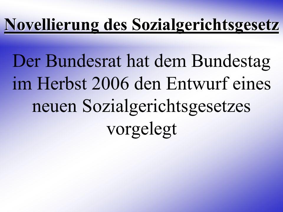 Novellierung des Sozialgerichtsgesetz