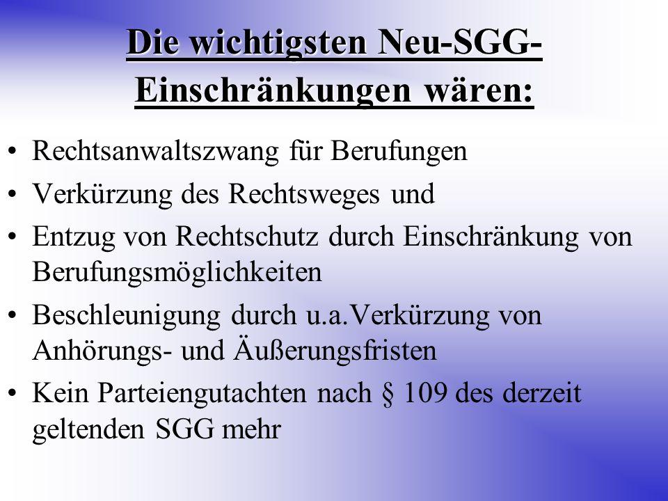 Die wichtigsten Neu-SGG-Einschränkungen wären: