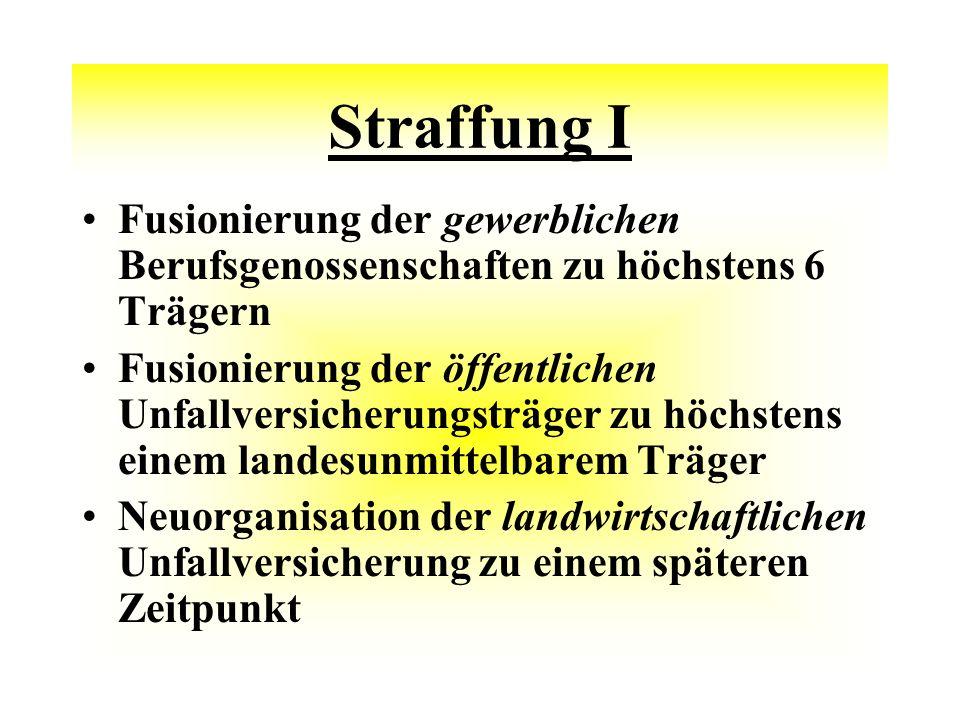 Straffung I Fusionierung der gewerblichen Berufsgenossenschaften zu höchstens 6 Trägern.