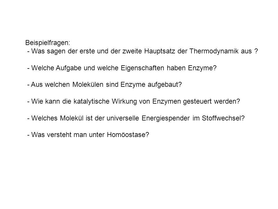 Beispielfragen: - Was sagen der erste und der zweite Hauptsatz der Thermodynamik aus - Welche Aufgabe und welche Eigenschaften haben Enzyme