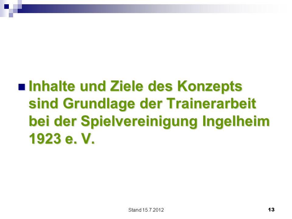 Inhalte und Ziele des Konzepts sind Grundlage der Trainerarbeit bei der Spielvereinigung Ingelheim 1923 e. V.