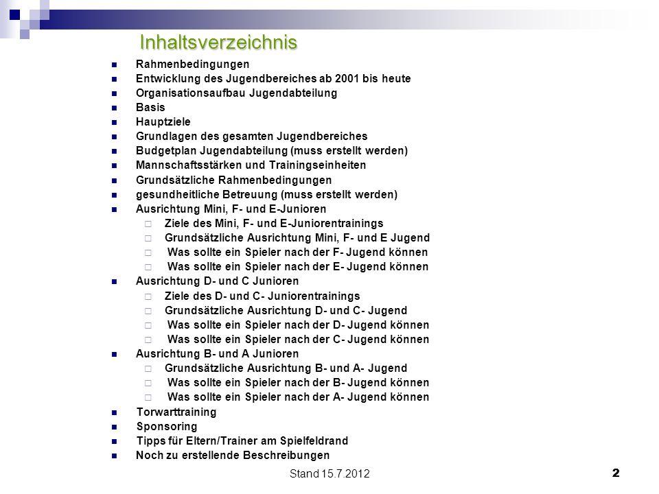 Inhaltsverzeichnis Rahmenbedingungen
