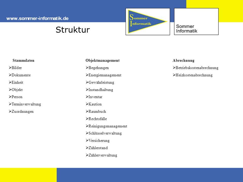 Struktur Stammdaten Bilder Dokumente Einheit Objekt Person