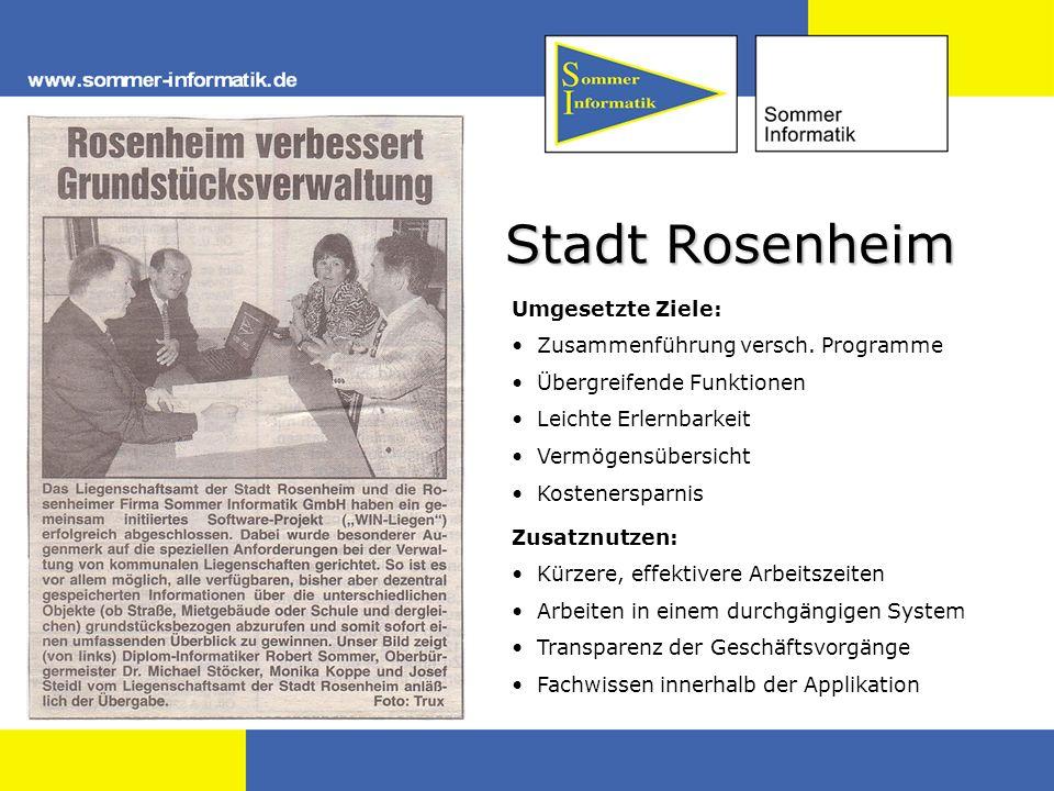 Stadt Rosenheim Umgesetzte Ziele: Zusammenführung versch. Programme