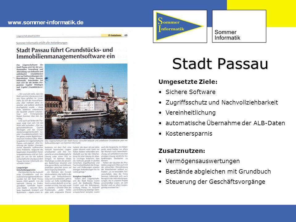 Stadt Passau Umgesetzte Ziele: Sichere Software
