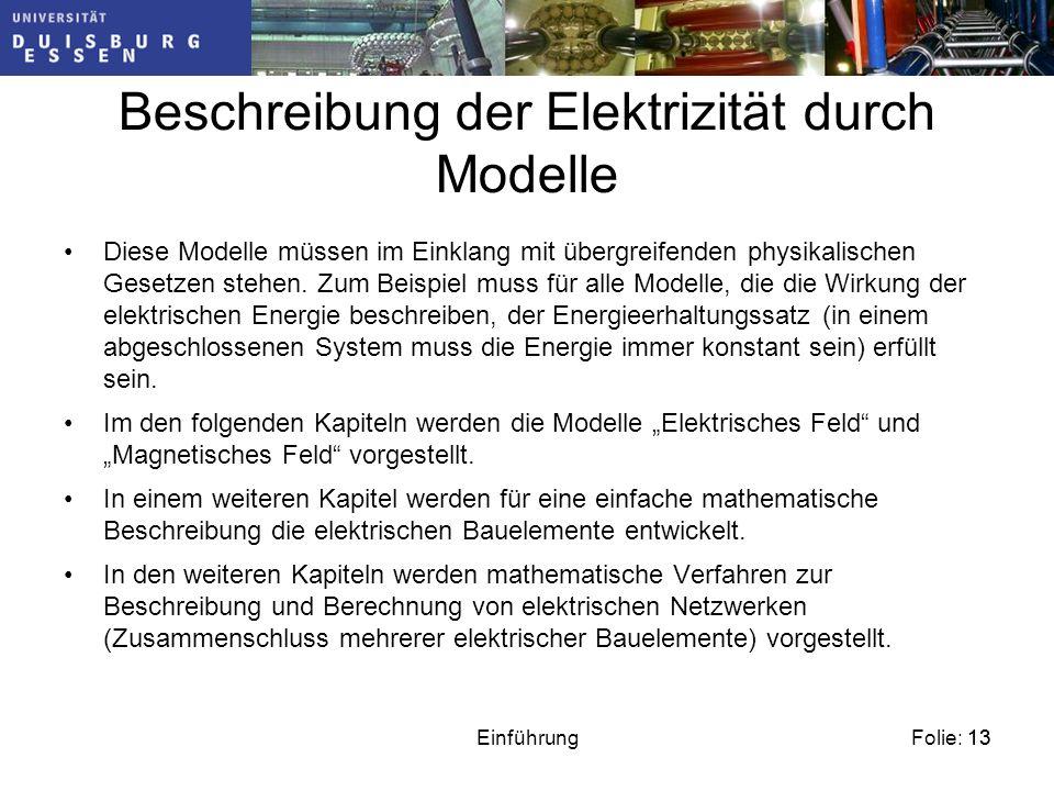 Beschreibung der Elektrizität durch Modelle