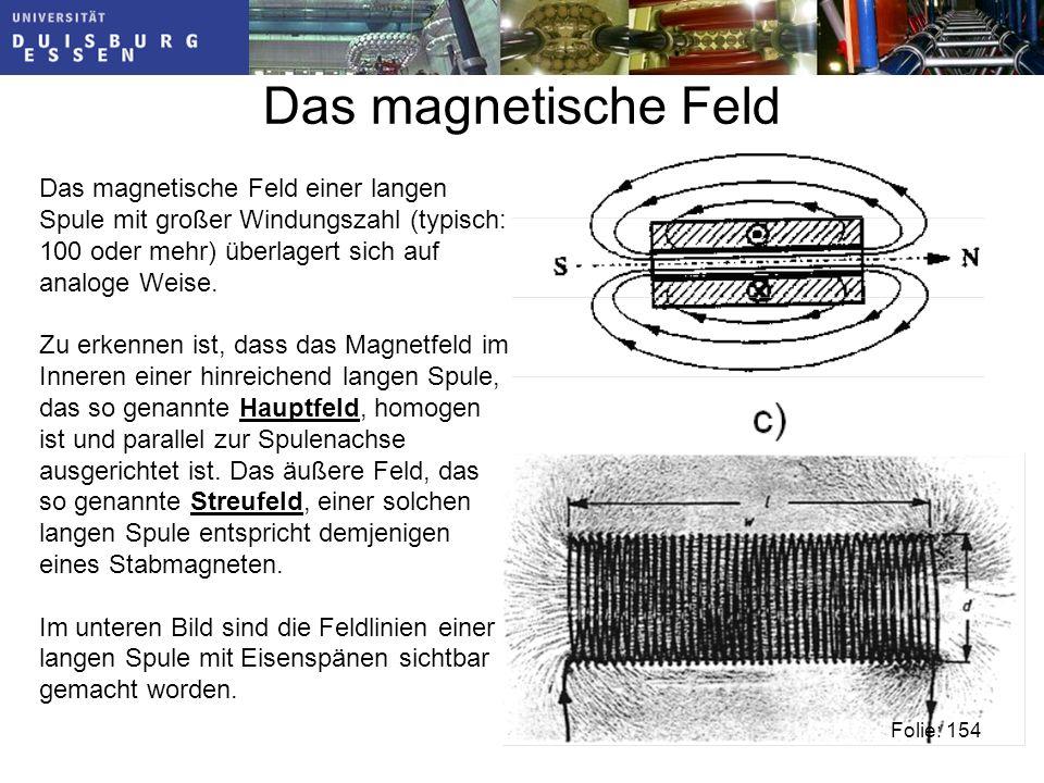 Das magnetische Feld Das magnetische Feld einer langen Spule mit großer Windungszahl (typisch: 100 oder mehr) überlagert sich auf analoge Weise.