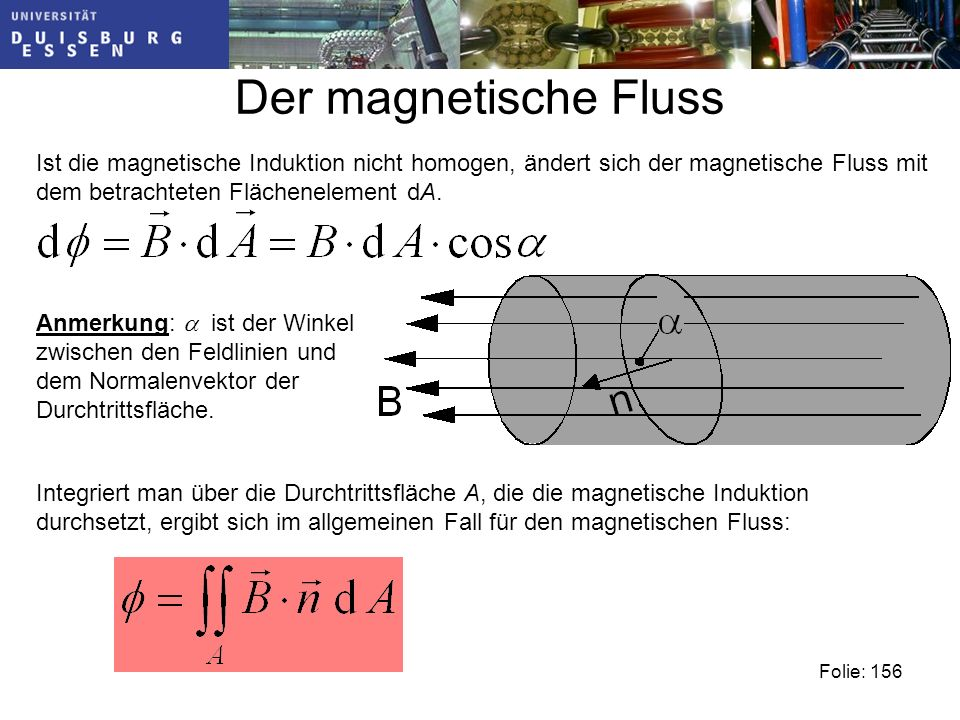 Der magnetische Fluss Ist die magnetische Induktion nicht homogen, ändert sich der magnetische Fluss mit dem betrachteten Flächenelement dA.