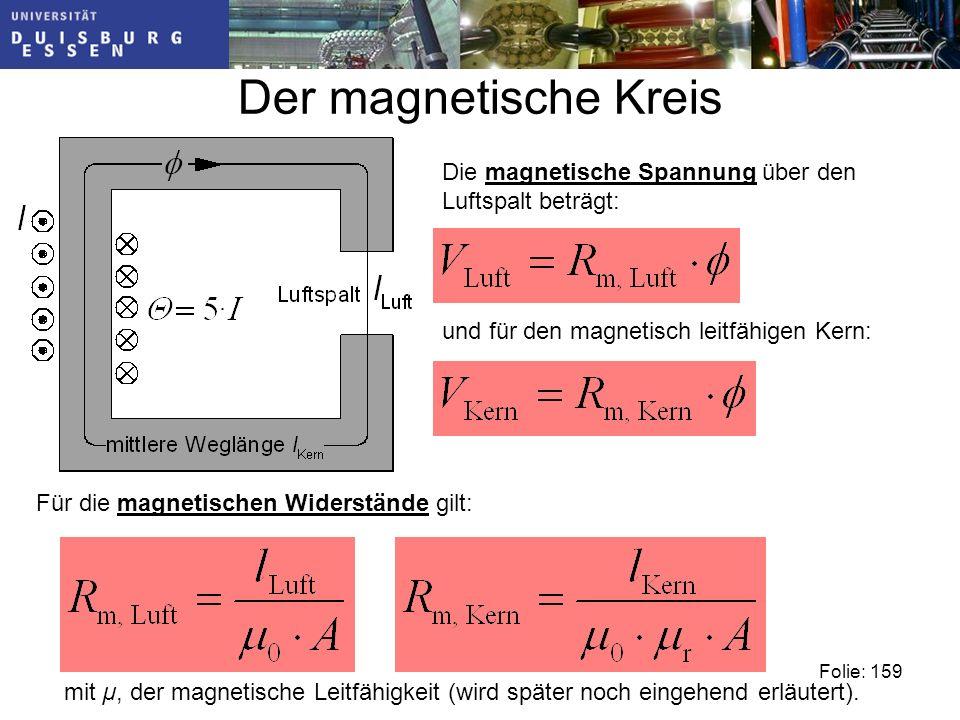 Der magnetische Kreis Die magnetische Spannung über den Luftspalt beträgt: und für den magnetisch leitfähigen Kern: