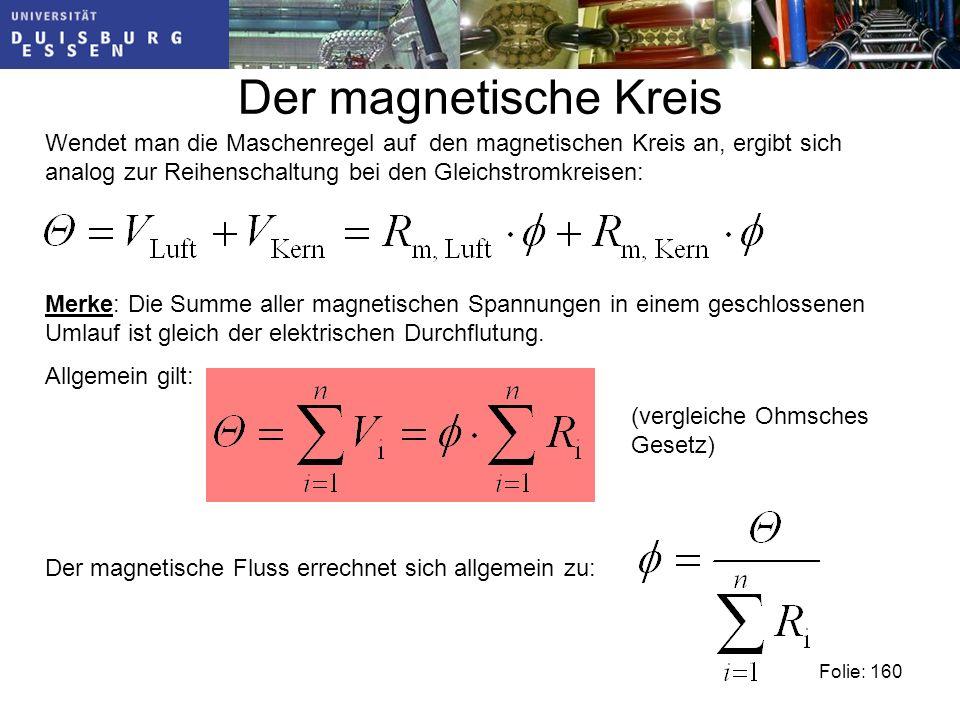 Der magnetische Kreis Wendet man die Maschenregel auf den magnetischen Kreis an, ergibt sich analog zur Reihenschaltung bei den Gleichstromkreisen: