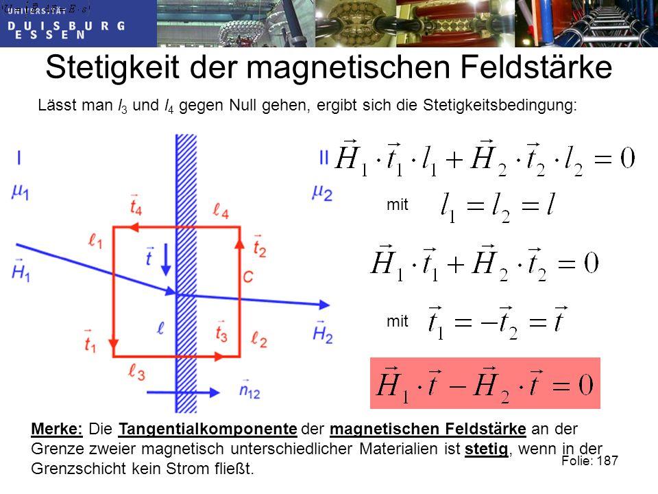 Stetigkeit der magnetischen Feldstärke