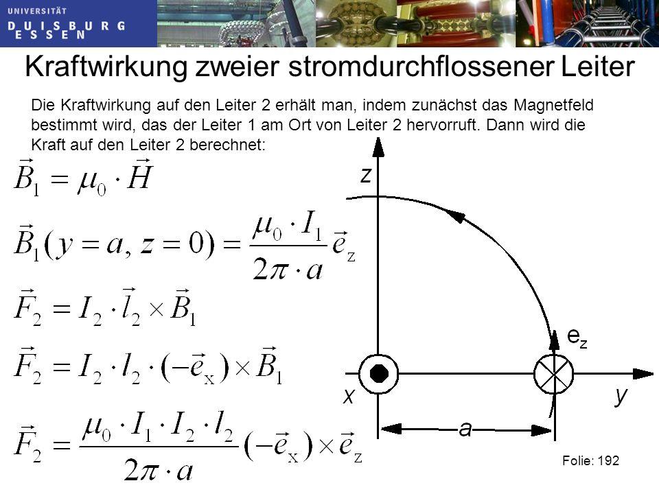 Kraftwirkung zweier stromdurchflossener Leiter