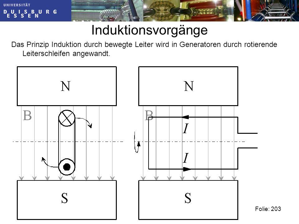 Induktionsvorgänge Das Prinzip Induktion durch bewegte Leiter wird in Generatoren durch rotierende Leiterschleifen angewandt.
