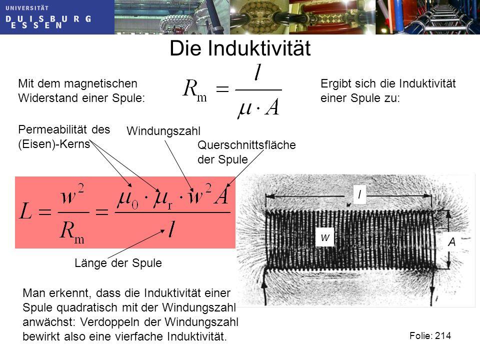 Die Induktivität Mit dem magnetischen Widerstand einer Spule: