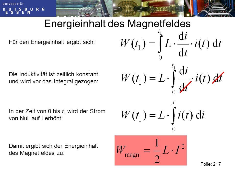 Energieinhalt des Magnetfeldes