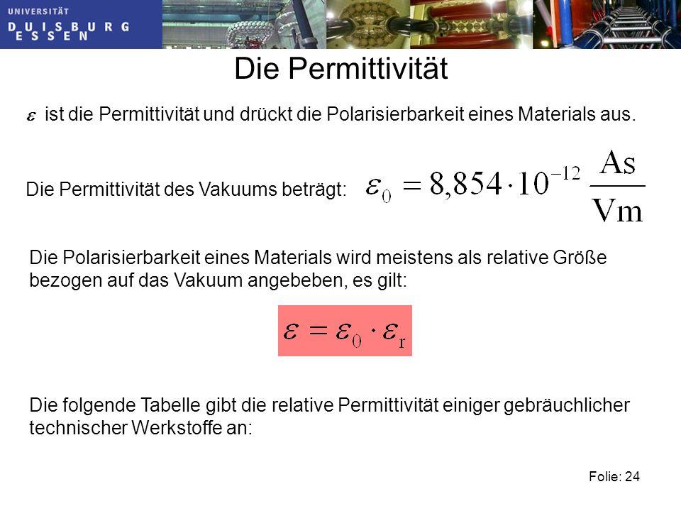 Die Permittivität e ist die Permittivität und drückt die Polarisierbarkeit eines Materials aus. Die Permittivität des Vakuums beträgt: