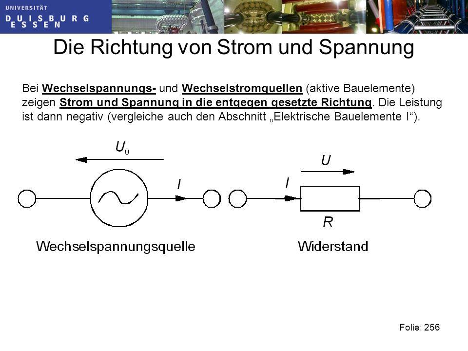 Die Richtung von Strom und Spannung