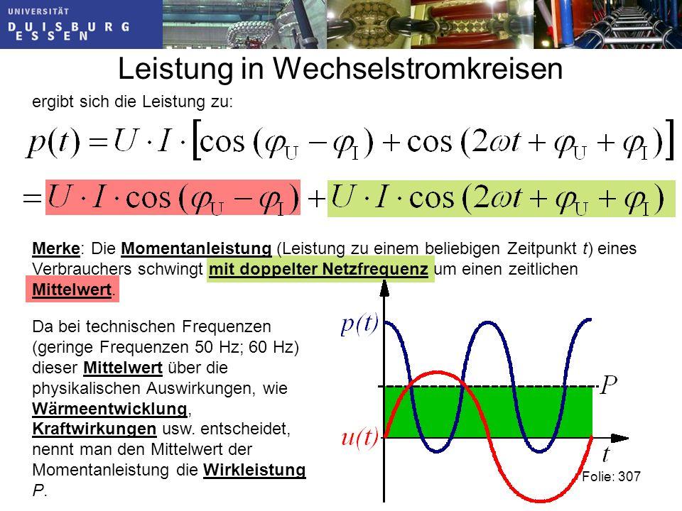Leistung in Wechselstromkreisen