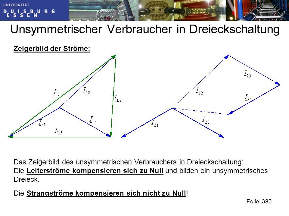 Unsymmetrischer Verbraucher in Dreieckschaltung