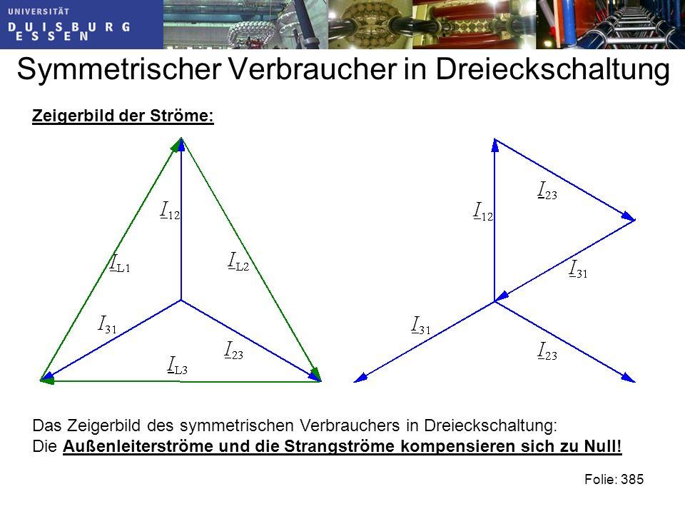 Symmetrischer Verbraucher in Dreieckschaltung