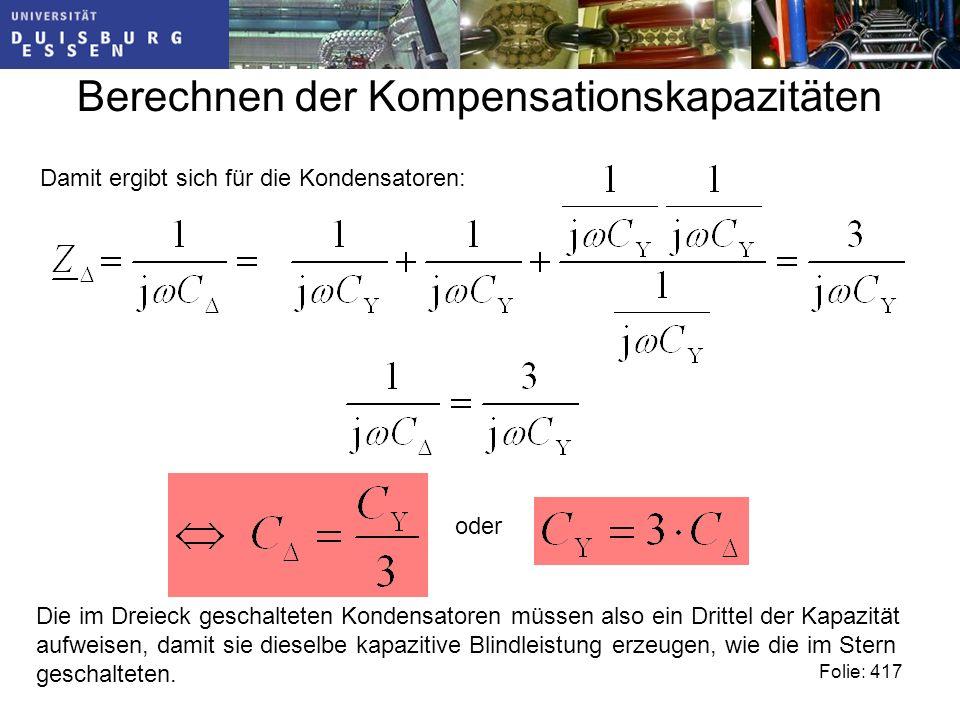 Berechnen der Kompensationskapazitäten