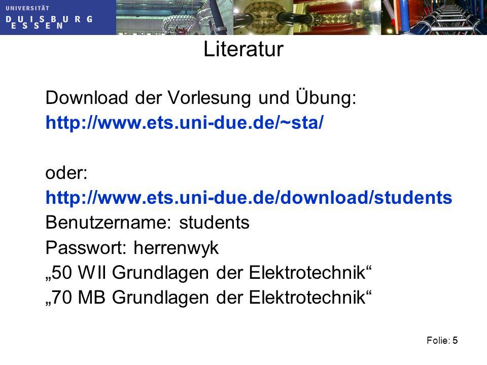Literatur Download der Vorlesung und Übung: