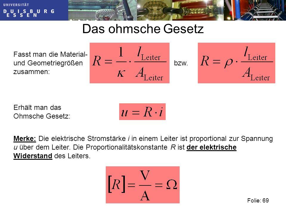 Das ohmsche Gesetz Fasst man die Material- und Geometriegrößen zusammen: bzw. Erhält man das Ohmsche Gesetz: